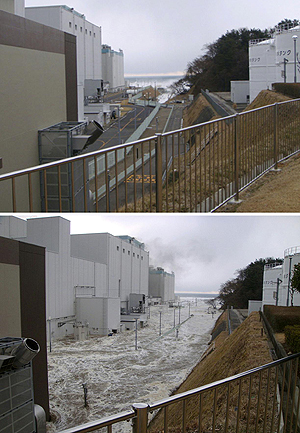 11 Mar 2011; Before/after the tsunami triggered by strong earthquake  hitting the compound of the Fukushima Dai-ni nuclear power plant.